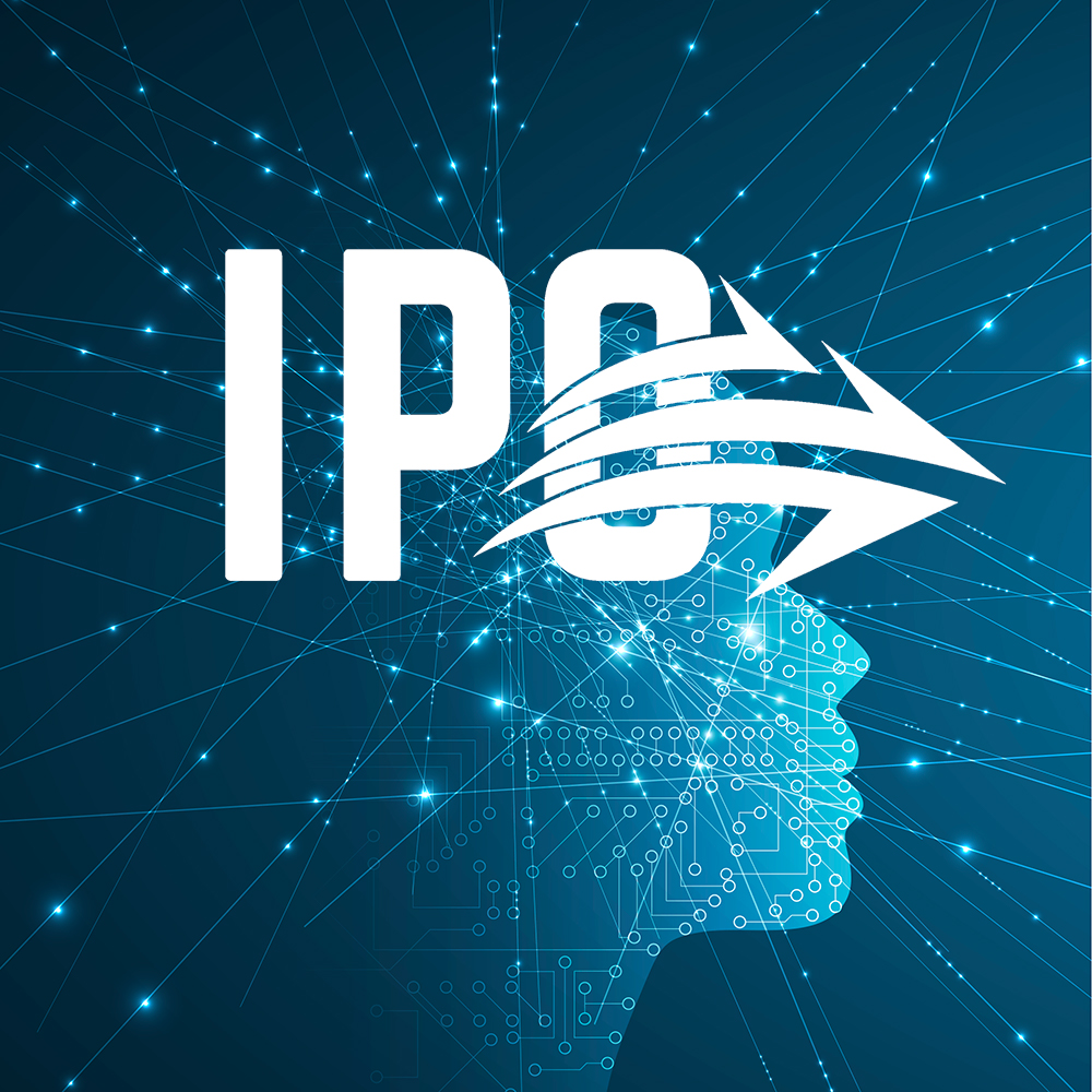 IPO logo over a face profile with interconnected lines